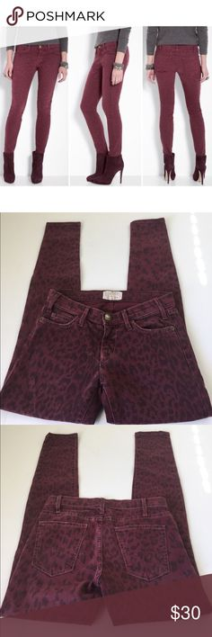 Current/Elliott The Skinny Ankle Jeans in Fig, 24 Current/Elliott The Skinny Ankle Jeans in Fig, size 24. Color is Fig, a burgundy color with a darker animal print. Flat lay measure of the waist is approximately 14.25. Rise is approximately 7.25, inseam is approximately 29, and leg opening is approximately 5. Made to be worn low on the waist. Made from 98% cotton and 2% elastan. Please look at all photos and ask if you have any questions. Current/Elliott Jeans Ankle & Cropped