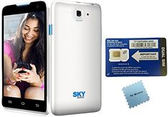 """#Straight #Talk Phone with Straight Talk SIM Card Bundle Includes: WHITE Unlocked GSM Sky 4.5d Phone with great Specs -- 4.5"""" LCD Display with front and back Came..."""
