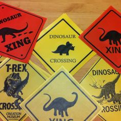 Dinosaur Crossing signs I just made on my printer with bright paper and some clear contact paper....~Julie