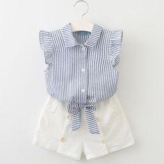 8a57762b9d5 2 Piece Striped Sleeveless Top + Shorts Set. Summer GirlsKids GirlsBaby ...