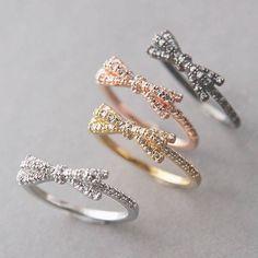 Ribbon bow rings, so cute
