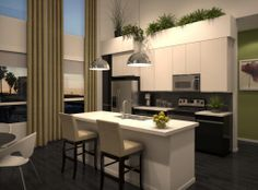 Kitchen rendering at #AMLI Lex on Orange, a luxury apartment community in Glendale.