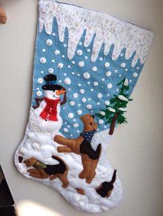 Felt Christmas stocking. Sandra Pounder Designs on Facebook..
