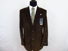 Saddlebred Men's Brown Corduroy Blazer Sport Coat Jacket 42R Two Button NWT #Saddlebred #TwoButton