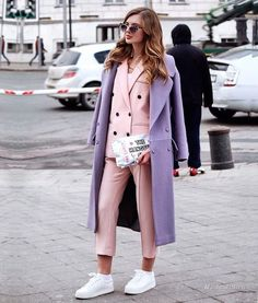 """""""Another day, another outfit. That was my day 3 outfit at . Spring is on my mind Когда за фото берётся , ты на можешь…"""" Lila Outfits, Purple Outfits, Colourful Outfits, Spring Outfits, Colorful Clothes, Pastel Outfit, Fashion Week, Fashion 2020, Fashion Trends"""
