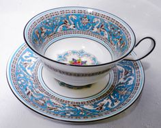 Wedgwood FLORENTINE BLUE AQUA TURQUOISE BLUE TEA CUP AND SAUCER