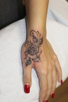 foot tattoos for women flowers Wrist Hand Tattoo, Dragon Hand Tattoo, Cute Finger Tattoos, Small Hand Tattoos, Rose Tattoo On Hand, Small Crown Tattoo, Rose Tattoos On Wrist, Hand Tats, Girly Tattoos
