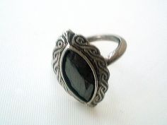 Vintage Avon Hematite Ring Adjustable Size 5 to 6