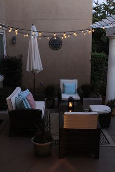 contemporary patio by Simply Tangerine Cafe lights from Bed, Bath, and Beyond