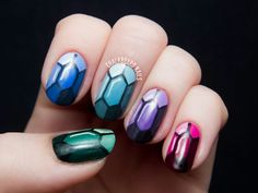 Precious Gems Nail Art - Looks like Rupees from Legend of Zelda.