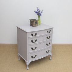 Vintage bow fronted chest of drawers painted in Annie Sloan's 'Paloma'. Available from Charlotte Jones Interiors. Contact us: sales@charlottejonesinteriors.com