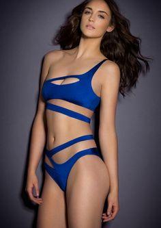 0bf18fd357 2017 AliExpress Hot Sexy Asymmetric White blue Agent Provocateur bikini  split Europe and the new hollow shoulder bikini