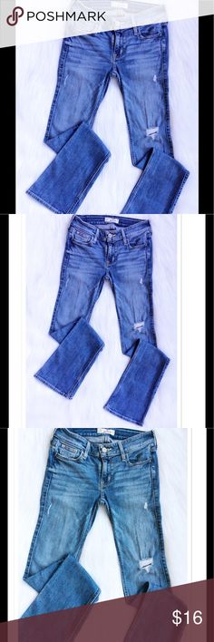 """Hollister Distressed Bootcut Jeans Hollister Distressed Bootcut Jeans, size 00-S. Measurements approx. 23""""W x 31""""L (please see Hollister size chart above). Hollister Jeans Boot Cut"""