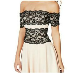 Pale pink and black lace dress NWT. Off the shoulder. Zipper in back. JustFab Dresses