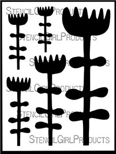Silhouettes of bold flowers from Terri& imagination grow tall and strong. This stencil includes both the stencil and the masks, making it easy for you to use both the positive and negative space. How To Make Stencils, Stencil Diy, Stencil Designs, Flower Stencils, Free Doodles, Gelli Plate Printing, Halloween Silhouettes, Art Worksheets, Envelope Art