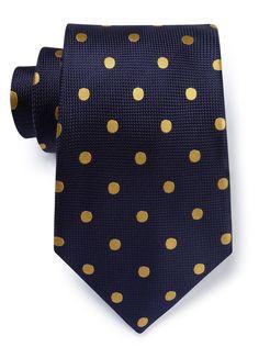 9cm Navy Gold Spot Tie - Spot Ties - Austin Reed