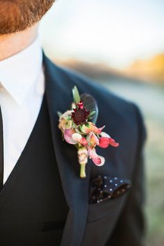 Black Three Piece Suit with a Polka Dot Pocket Square | Samantha McFarlen Photography | Late Winter Sun - Sparkling Silver and Berry Wedding Shoot