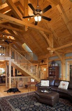 Photo Album Timber Frame Home Environmentally Designed Timber Frame Eco Environmental Building Materials Custom Post & Beam Timber Frame Design Packages More ceiling Pole Barn House Plans, Pole Barn Homes, Dream Home Design, My Dream Home, House Design, Framing Construction, Timber Frame Homes, Timber Frames, Post And Beam