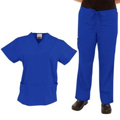 The comfortable, basic scrub set you will reach for every day. Color featured here: Royal. #ScrubsSet