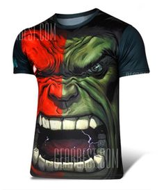 Fashion Round Neck Slimming Color Block The Hulk Print Short Sleeve Polyester T-Shirt For Men-9.47 and Free Shipping   GearBest.com Mobile