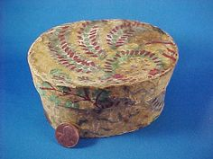 Antique c 1820 Miniature Wallpaper Box, Top of Stack, Vibrant Colors, Hand Stitched Antique Wallpaper, Wall Boxes, Box Tops, Antique Boxes, Paint Pens, Sewing Accessories, Covered Boxes, Etsy Vintage, Hand Stitching
