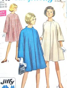 Simplicity 7443 Tent Coat Pattern from the 1960s   by Fancywork