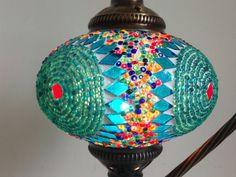 Turquoise Turkish night lamp, Night Decoration, Midcentury lights