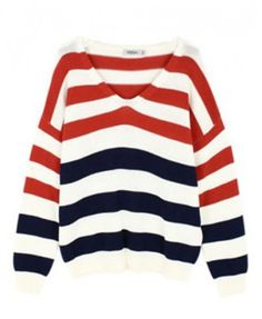 V Neckline Red & Blue Stripe Pullover - Knitwear - Clothing