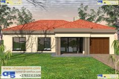 RDM5 House Plan No. W2529 Flat Roof House Designs, Bungalow House Design, My House Plans, House Floor Plans, Three Bedroom House Plan, Building Costs, Contemporary House Plans, My Dream Home, Dream Homes