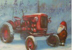 Traktor och Nisse Christmas Truck, Christmas Countdown, Christmas Holidays, Xmas, Childrens Christmas, Vintage Christmas, Gnome Pictures, Norwegian Christmas, Christmas Illustration