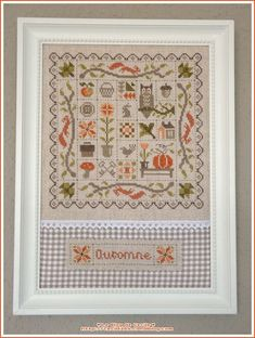 patchwork_automne_jardin_prive_octobre2012_encadre_a Cross Stitch Freebies, Cross Stitch Samplers, Cross Stitching, Cross Stitch Embroidery, Cross Stitch Patterns, Halloween Cross Stitches, Fall Quilts, Cross Stitch Finishing, Cross Stitch Flowers
