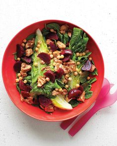 Tuna, Chickpea, and Beet Salad | Martha Stewart Living This is an easy and tasty twist on tuna salad, using a vinaigrette (no mayo) and adding beets and chickpeas for a more substantial supper.