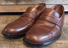 d2867cef680 Giorgio Cosani Couture Men s Brown Leather Penny Loafers Size 11 M Hand  Crafted