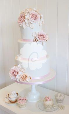 Elegant soft blush pink roses wedding cake