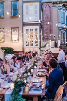 Outdoor wedding reception decor - long tables with greenery and twinkle lights {Esther Griffin Photography} Winter Wedding Flowers, Fall Wedding Colors, Fall Wedding Centerpieces, Wedding Reception Decorations, Reception Ideas, Wedding Venue Inspiration, Wedding Ideas, Wedding Prep, Outdoor Wedding Reception