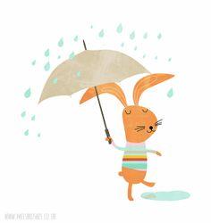 Rabbit in the rain Illustration by Mel Rodicq www.melsbrushes.co.uk