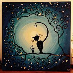 Afbeeldingsresultaat voor positivo y negativo arte con gatos I Love Cats, Crazy Cats, Black Cat Art, Moon Art, Cat Drawing, Art Plastique, Painted Rocks, Fantasy Art, Art Projects