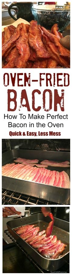 Oven-Fried Bacon -- Quick & Easy, a lot Less Mess! Perfect crispy bacon every time! Oven Fried Bacon, Bacon In The Oven, Fries In The Oven, Bacon Bacon, Bacon Cooked In Oven, Perfect Oven Bacon, How To Fry Bacon, Candied Bacon, Oven Baked