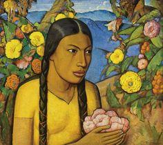 Alfredo Ramos Martinez (1872-1946) Juanita Entre Las Flores (56,5 by 63,5 cm)