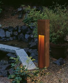 Rusty Slot 50 /80 Exterior Bollard by SLV Lighting | 229410U