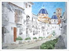 Acuarela de una calle de Altea en la provincia de Alicante. Acuarela pintada por Rubén de Luis de una de las calles principales de Altea pintado en acuarela