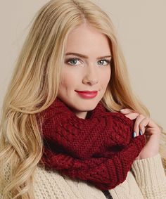 Love this Red Cable-Knit Infinity Scarf by Leto Collection on #zulily! #zulilyfinds