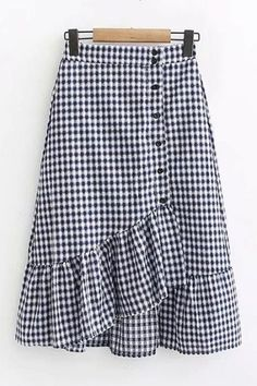 saias Simple Cheap Chic, Shop Button Embellished Plaid Asymmetrical Ruffle Hem Midi A-Line Skirt online. you can find similar. Chiffon Skirt, Dress Skirt, Ruffle Skirt, Chambray, Jean Skirt Outfits, Dress Outfits, Midi Flare Skirt, Outfit Trends, Ladies Dress Design