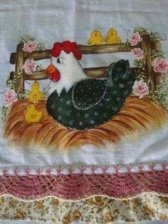Panos De Pratos Pintados Manualmente Com Crochê