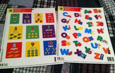 2 Reusable Window Clings Alphabet Numbers Sets Great Educational Resource | eBay