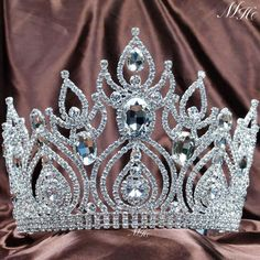 """Cheap headband tiara, Buy Quality jewelry findings sterling silver directly from China jewelry riser Suppliers:        Pageant 3.5"""" Full Circle Tiara Clear Austrian Rhinestones Simulated Blue Sapphire King / Queen Crown Costume Part"""