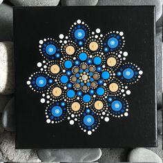 "8"" X 8"" Hand-Painted Mandala on Canvas - dot painting"