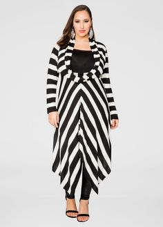 Ashley Stewart   Striped Oversized Cowl Sweater Dress