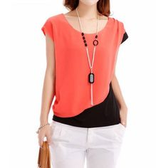 $3.69 Simple Design Scoop Neck Color Block Short Sleeve Chiffon Blouse For Women