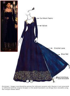 DIY Blue Floor Length Anarkali Suit